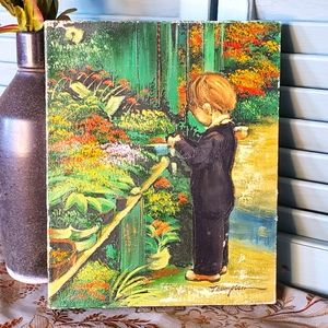 Original Signed Oil Painting Boy at Florist
